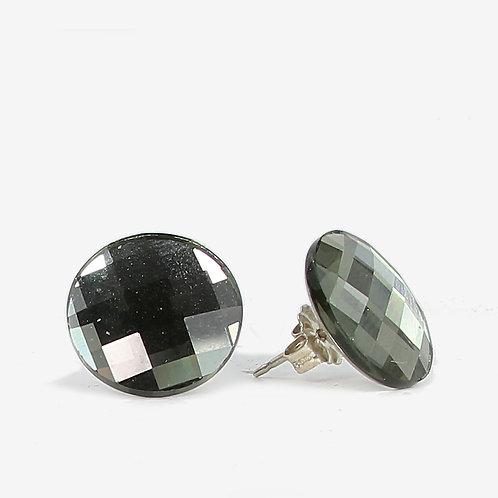10mm Swarovski Crystal Round Chessboard Earrings - Silver Night