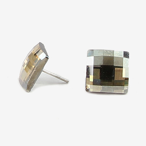 Large Square Crystal Chessboard stud earrings