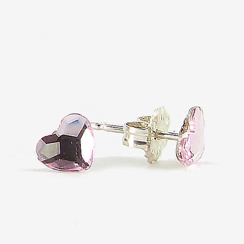 3.6mm Crystal Heart Stud Earrings - Light Rose