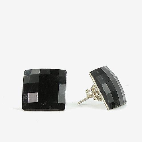 15mm Swarovski Crystal Square Chessboard Earrings - Jet