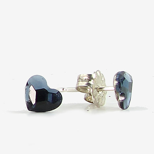 3.6mm Crystal Heart Stud Earrings - Denim Blue