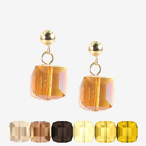 Swarovski Cube earrings -Yellow, Brown and Grey
