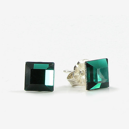 6mm Swarovski Crystal Square Earrings - Emerald