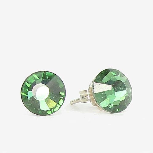 7mm Swarovski Crystal Stud Earrings - Tourmaline