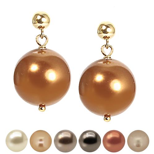Brown & Beige Pearl Drop Earrings