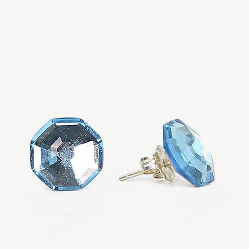 10mm Swarovski Crystal Hexagon Earrings - Aqua