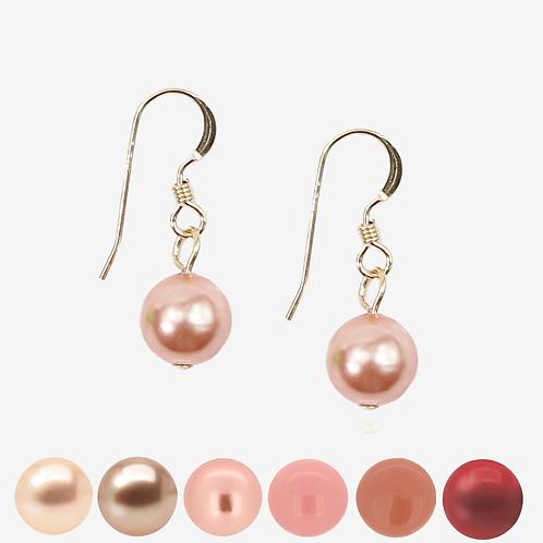 Red & Peach Pearl Hook earrings