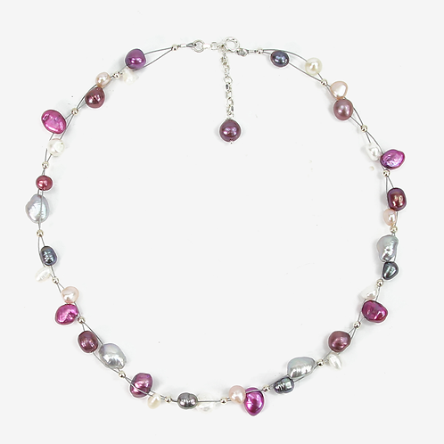 Freshwater and Keishi Pearl Flow necklace Fuchsia & grey