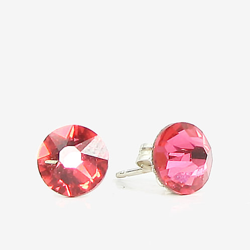 7mm Crystal Stud Earrings - Indian Pink