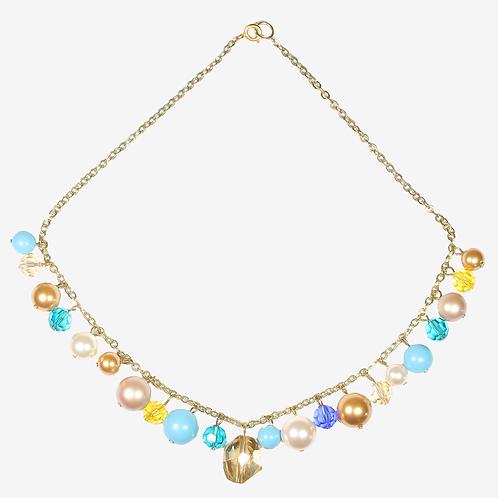 Golden Blue Charm Necklace