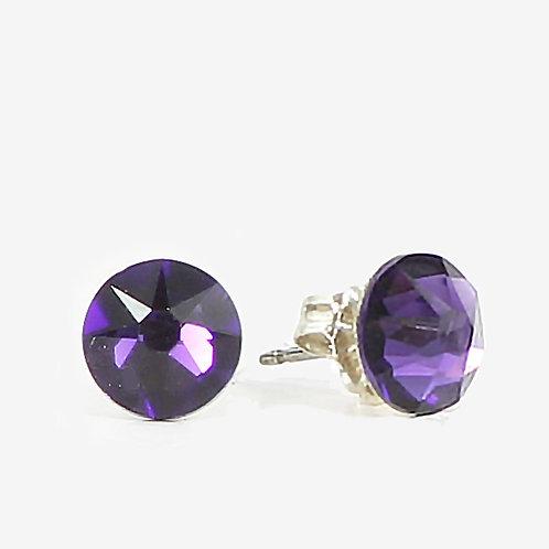 7mm Crystal Stud Earrings - Purple Velvet
