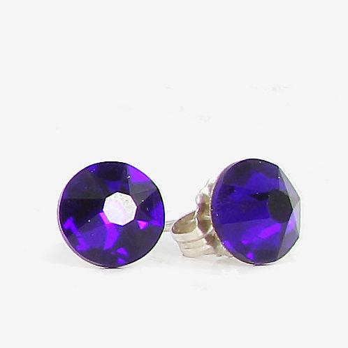 7mm Swarovski Crystal Stud Earrings - Cobalt