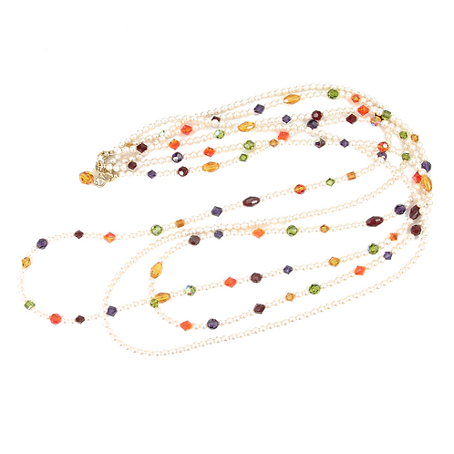 Triple strand Autumn Leaf Swarovski crystal and pearl mix necklace - XLong