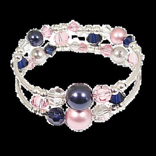 Rose & Navy Adele Cuff Bracelet