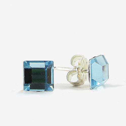 6mm Crystal Square Earrings - Aqua