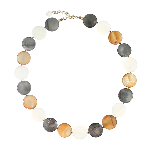 Autumn Mother of Pearl Button necklace