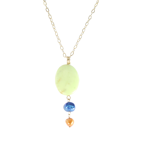 Lemon Chrysoprase and Pearl pendant