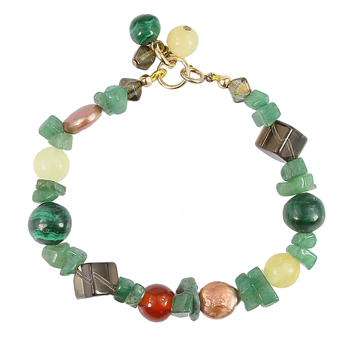 Mixed Greens and Browns Semi-precious bracelet