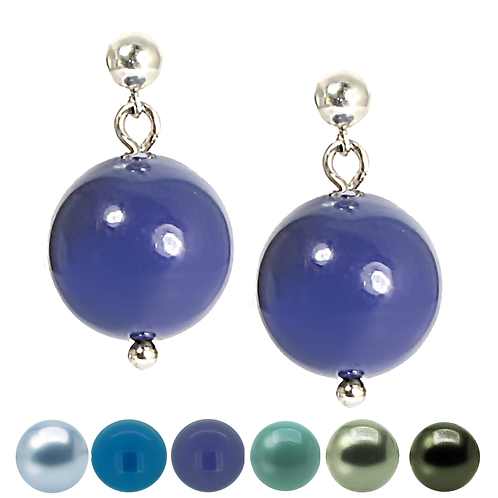 Blue & Green Pearl Drop Earrings