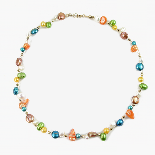 Freshwater and Keshi Pearl Flow Necklace Shades of Spring