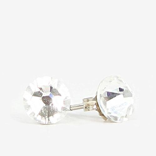 7mm Swarovski Crystal Stud Earrings - Crystal AB