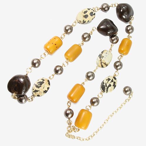 Hawaiian Kukui Bead, African Amber & Variegated Jasper necklace