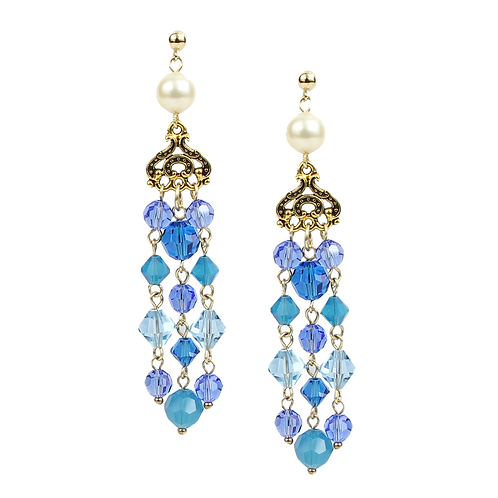 Empire Earrings - Spring Blues (med)