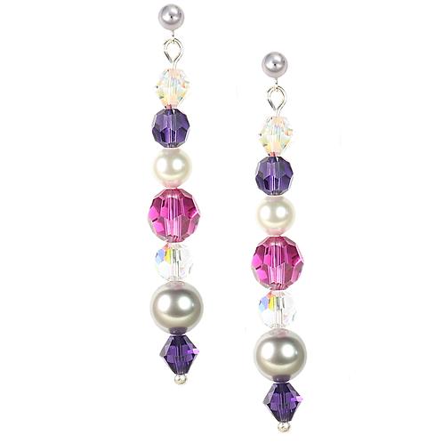 Pink & Purple Pin-drop earrings