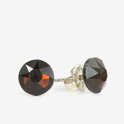 7mm Crystal Stud Earrings - Mocca