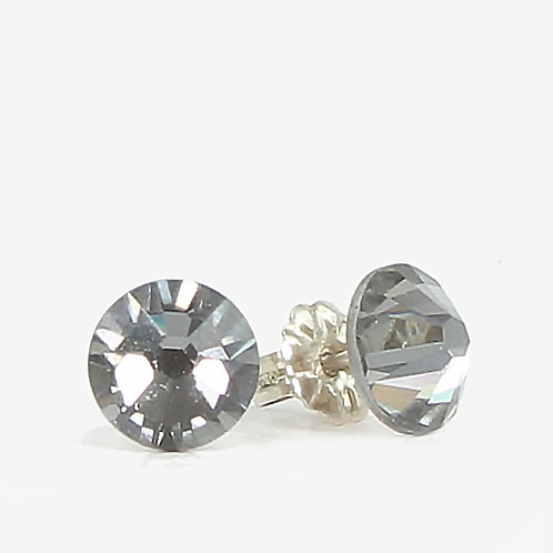 7mm Swarovski Crystal Stud Earrings - Silver Night
