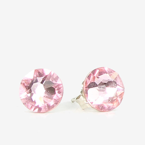7mm Swarovski Crystal Stud Earrings - Light Rose