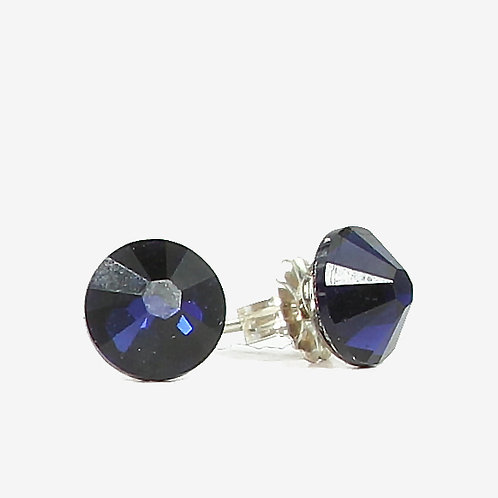 7mm Swarovski Crystal Stud Earring - Dark Indigo