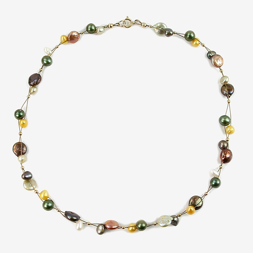 Freshwater and Keshi Pearl Flow necklace Autumn Greens