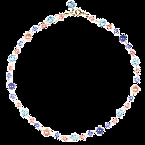 Salmon Blue plait necklace