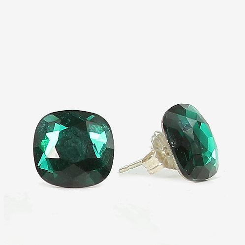 10mm Swarovski Crystal Cushion Earrings - Emerald