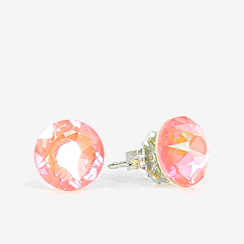 7mm Crystal Stud Earrings - Electric Orange