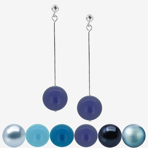 Blue & Green Pearl Drop Earrings - Long