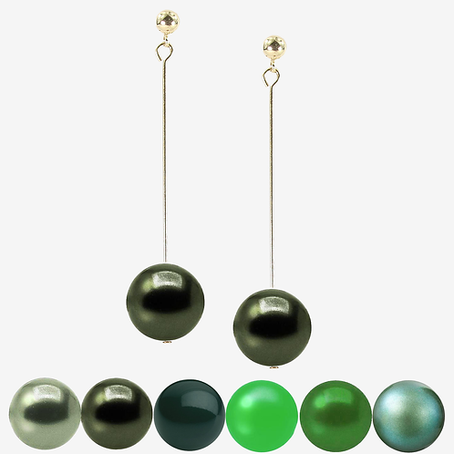 Green Pearl Drop earrings - Long
