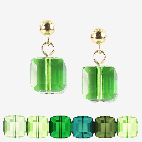 Swarovski Cube earrings - Green