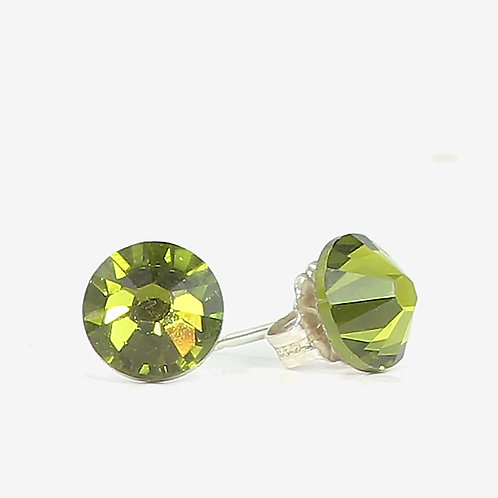 7mm Swarovski Crystal Stud Earrings - Olive