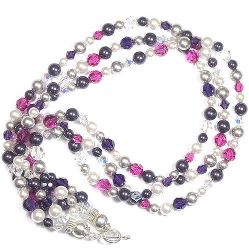 Winter Pinks Crystal & Crystal Pearl multi-strand necklace