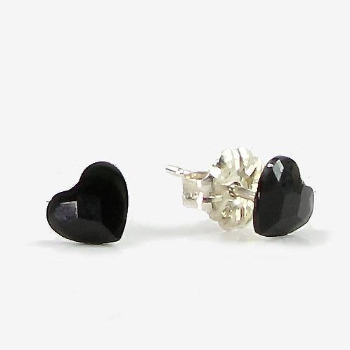 3.6mm Swarovski Crystal Heart Stud Earrings - Jet