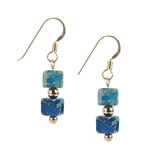 Dyed Jasper cube earrings