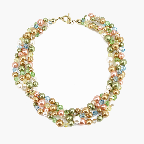 Soft Crystal Pearl Multi-strand necklace