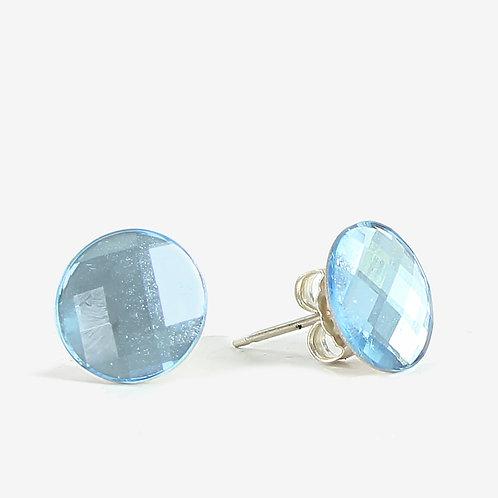 10mm Swarovski Crystal Round Chessboard Earrings - Aqua