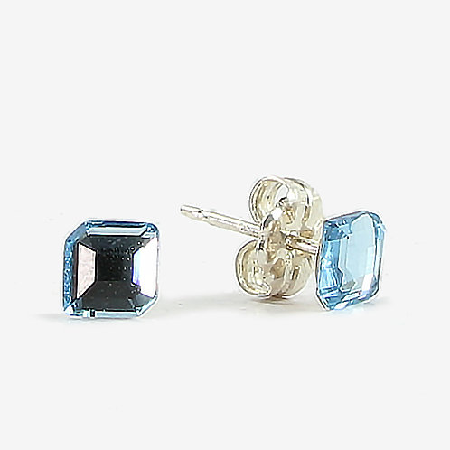 Hexagon Genuine Crystal stud earrings