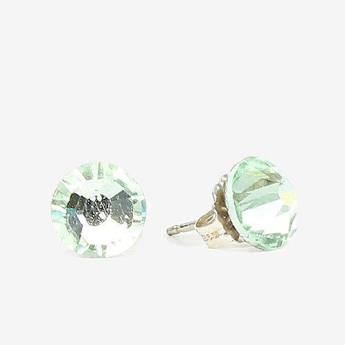 7mm Crystal Stud Earrings - Chrysolite