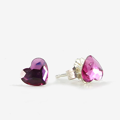 3.6mm Crystal Heart Stud Earrings - Fuchsia