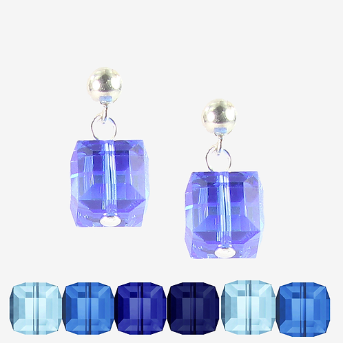 Swarovski Cube earrings - Blues