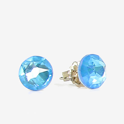 7mm Crystal Stud Earrings - Electric Blue